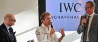 Georges Kern, CEO of swiss watch manufacturer IWC (L-R), Nico Rosberg and presenter Florian Koenig attend a press talk following a watchmaking class