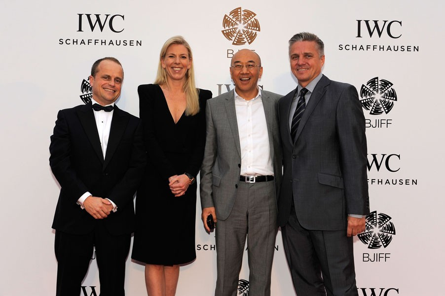 Benoit De Clerck, IWC Managing Director Asia Pacific, Karoline Huber, IWC Director of Marketing & Communications, William Feng and Mike Ellis